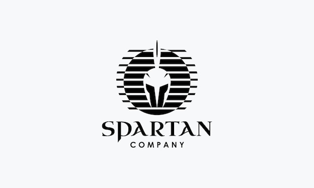 Conception de logo de casque dans un style spartiate vintage rétro