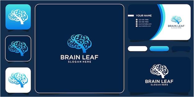 Conception de logo cerveau et feuille