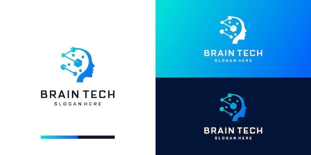 Conception de logo de cerveau de technologie numérique