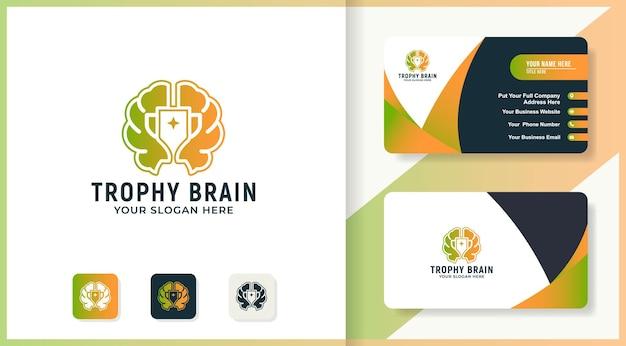 Conception de logo de cerveau de trophée et carte de visite