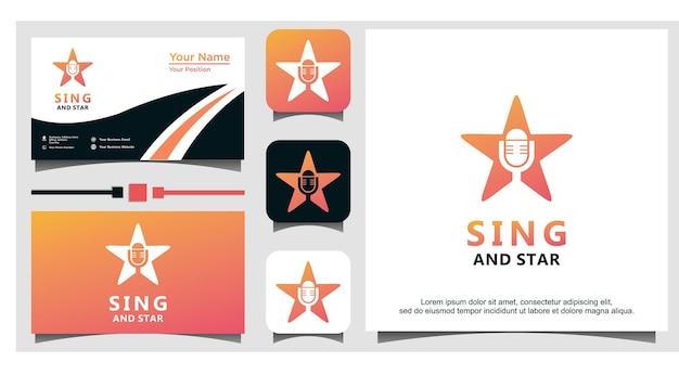 Conception de logo de chant et d'étoile