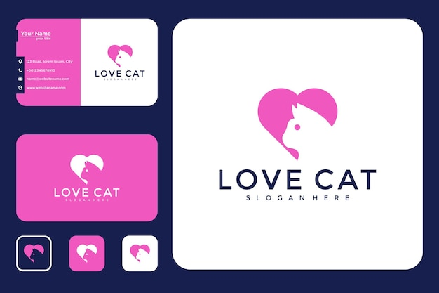 Conception de logo de chat d'amour et carte de visite