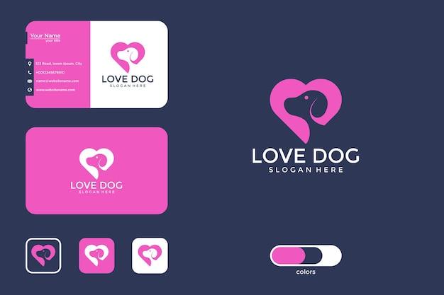 Conception de logo de chien d'amour et carte de visite