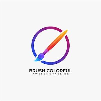 Conception de logo coloré de brosse