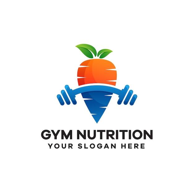 Conception de logo coloré de gradient de nutrition de gymnastique