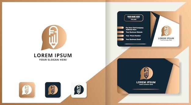 Conception de logo de combinaison de chat de podcast de stylo et de carte de visite