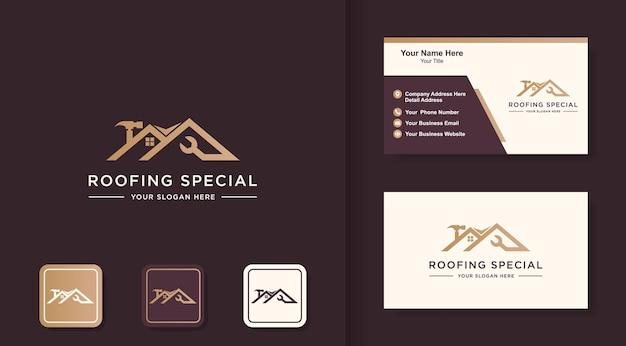 Conception de logo de construction spéciale de toit et de carte de visite