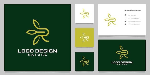 Conception de logo de contour de feuille de lettre r avec carte de visite