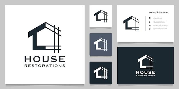 Conception de logo de contour de ligne de concepts simples de rénovations immobilières à la maison avec carte de visite
