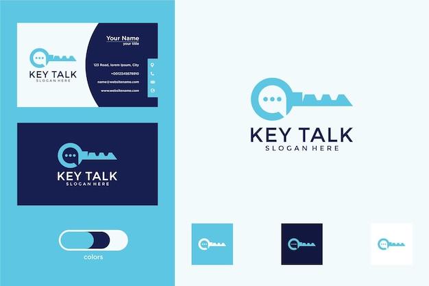 Conception de logo de conversation clé et carte de visite