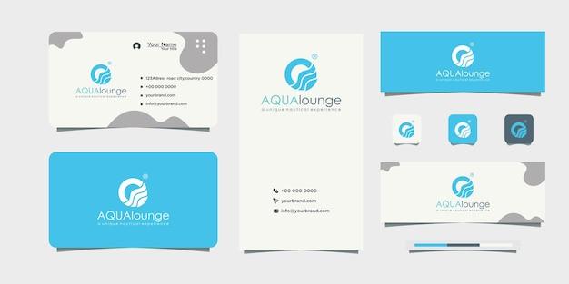 Conception de logo de couleur bleue conception de carte de visite d'image d'eau qui coule