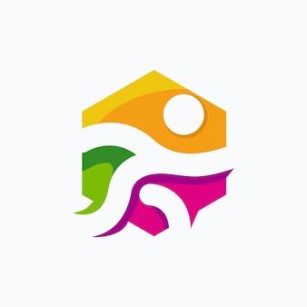 Conception de logo de course en couleur
