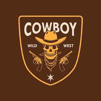 Conception de logo de cowboy de crâne