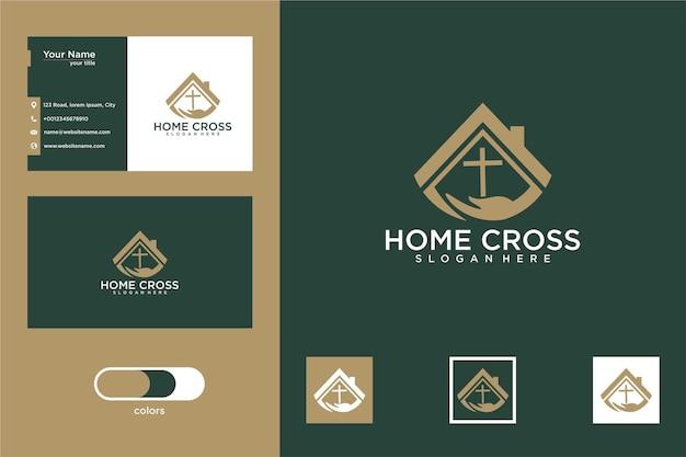 Conception de logo de croix à la maison et carte de visite