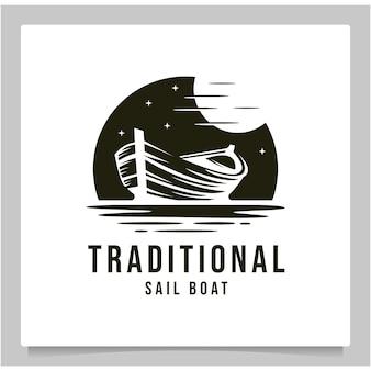 Conception de logo de croquis de bateau et de soleil en bois traditionnel