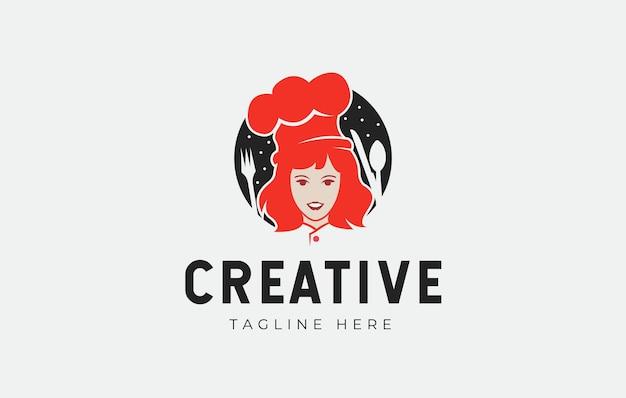 Conception de logo de cuisine de mamans illustration vectorielle de mère avec une fourchette et une cuillère