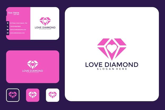 Conception de logo de diamant d'amour et carte de visite