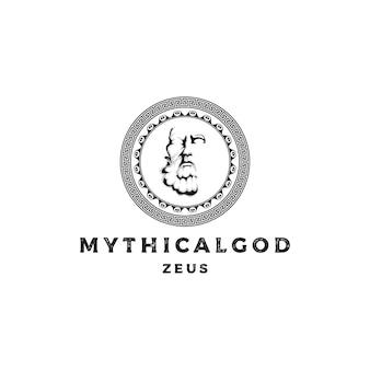 Conception de logo de dieu de la mythologie du visage ou de la tête de zeus du grec ancien