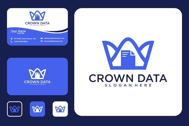 Conception de logo de données de couronne et carte de visite