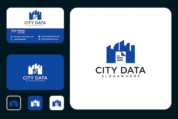 Conception de logo de données de ville et carte de visite