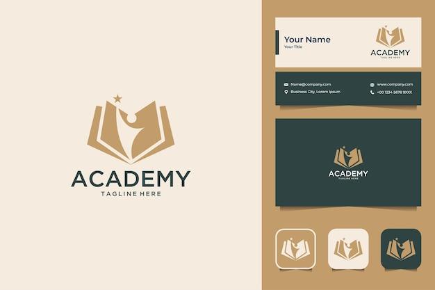 Conception de logo d'éducation de l'académie de livre et carte de visite
