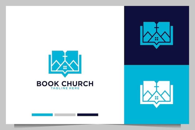Conception de logo d'éducation d'église de livre
