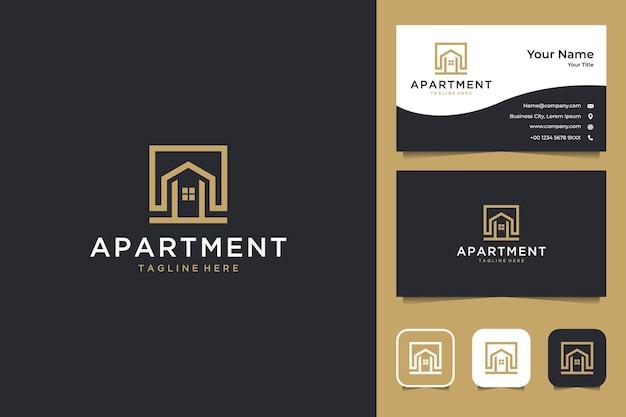 Conception de logo élégant appartement et carte de visite