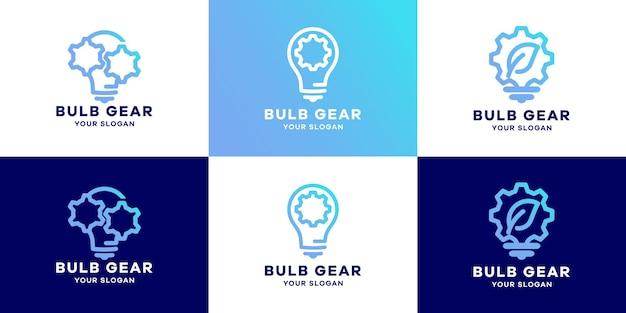 La conception de logo d'engrenage d'ampoule utilise le concept de ligne