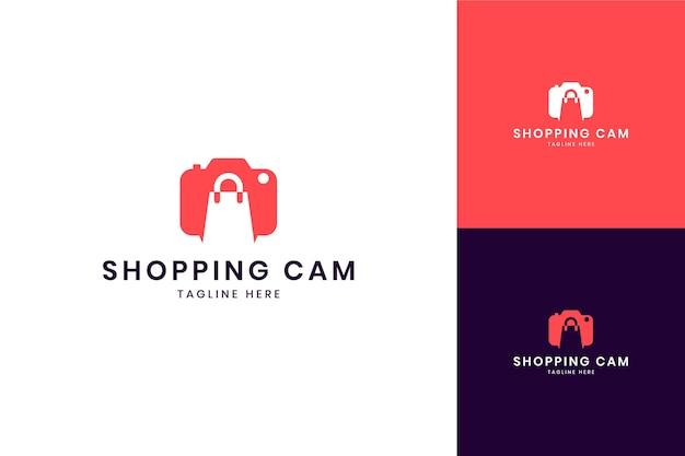 Conception de logo d'espace négatif d'achat d'appareil photo