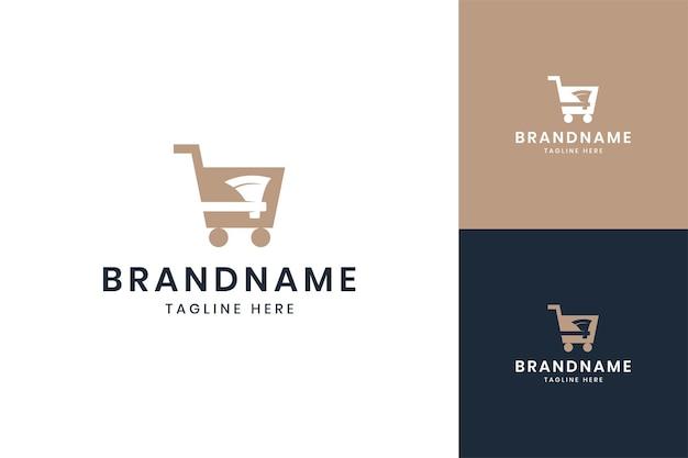 Conception de logo d'espace négatif d'achats de hache
