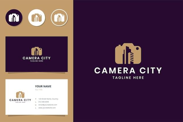 Conception de logo d'espace négatif de bâtiment de caméra