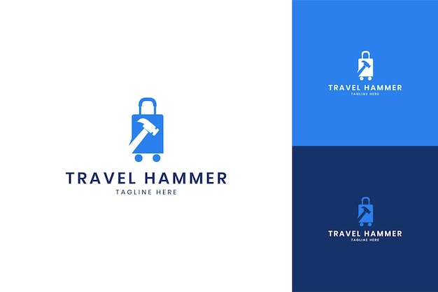 Conception de logo d'espace négatif de marteau de voyage