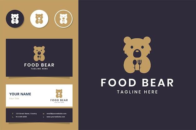Conception de logo d'espace négatif de nourriture d'ours
