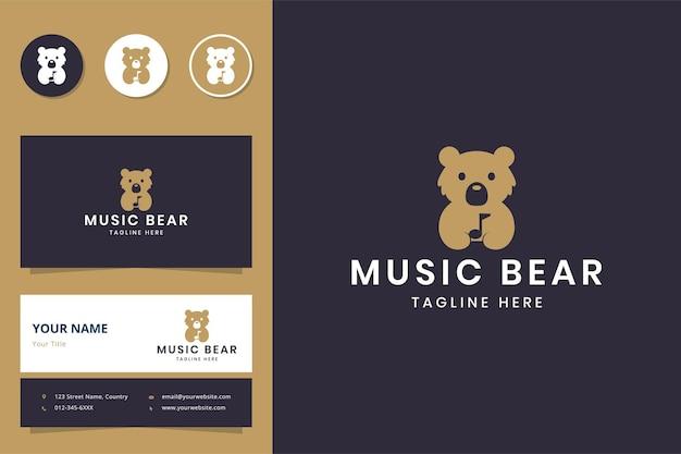 Conception de logo d'espace négatif d'ours de musique