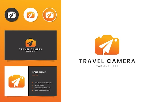 Conception de logo d'espace négatif pour appareil photo de voyage