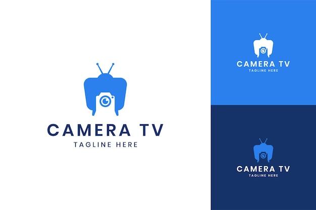 Conception de logo d'espace négatif de télévision d'appareil-photo