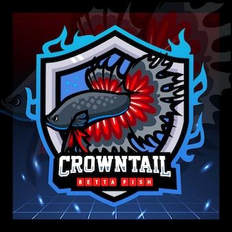 Conception de logo esport mascotte poisson betta queue de couronne