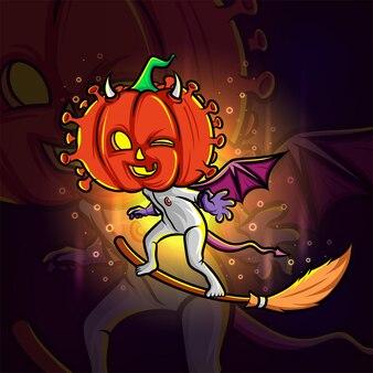 La conception de logo esport tête de citrouille sorcière diable d'illustration