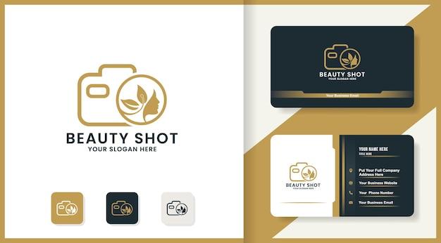 Conception de logo de femme de visage d'appareil-photo, conception d'inspiration pour le photographe et le tir de beauté