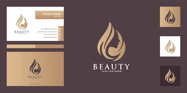 Conception de logo de femmes de beauté et carte de visite, bon usage pour la mode, salon, logo de spa