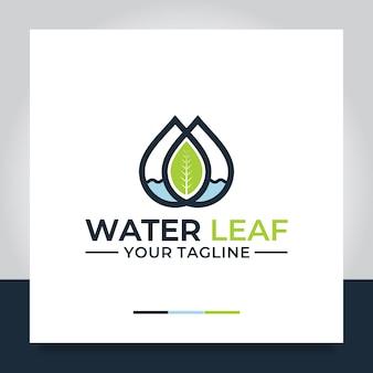 Conception de logo de feuille d'eau goutte naturelle