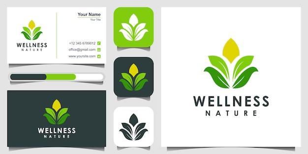 Conception de logo de feuille logo de luxe de salon de beauté de spa de centre de yoga