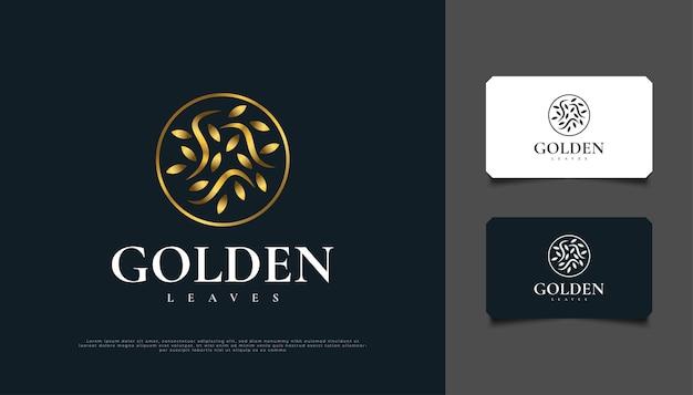 Conception de logo de feuilles d'or dans un cercle, adapté pour l'identité de produit de spa, de beauté, de fleuriste, de complexe ou de cosmétique