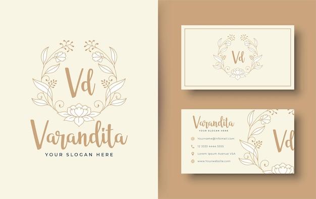 Conception de logo de fleur de monogramme vintage et de carte de visite