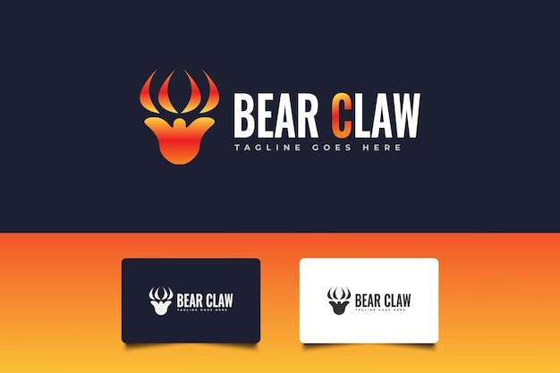 Conception de logo de griffe d'ours. logo à gratter. symbole d'égratignure animale