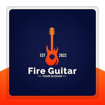 Conception de logo guitare feu flamme rock vector illustration