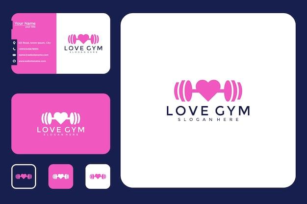 Conception de logo de gym d'amour et carte de visite