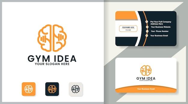 Conception de logo de gym cérébrale, conception d'inspiration pour la forme physique, l'auto-santé et la santé mentale