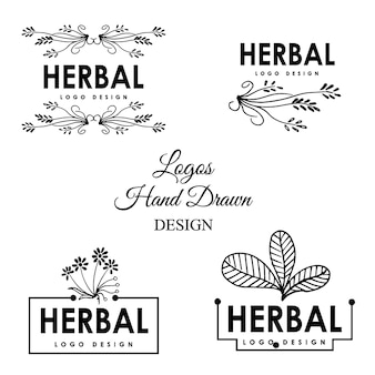 Conception de logo d'herbes dessinés à la main