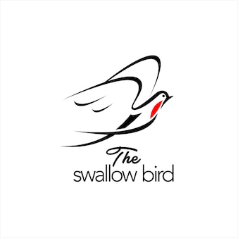Conception de logo d'hirondelle vecteur d'oiseau volant